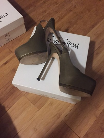 Saint Laurent Khaki/Olive Pumps Image 1