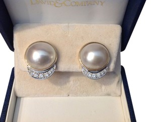 18K MABE PEARL AND DIAMOND EARRINGS