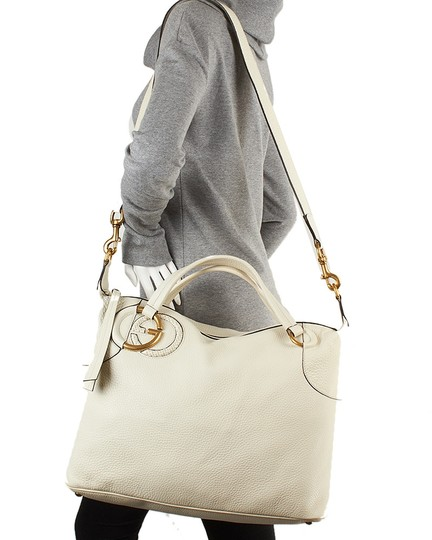 Gucci Twill Gg Leather Crossbody Tote in Ivory