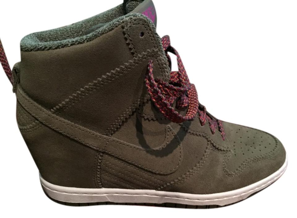 1b1901b2316 Nike Olive Green with Olive Orange Laces Women s Dunk Sky Hi Sneakers