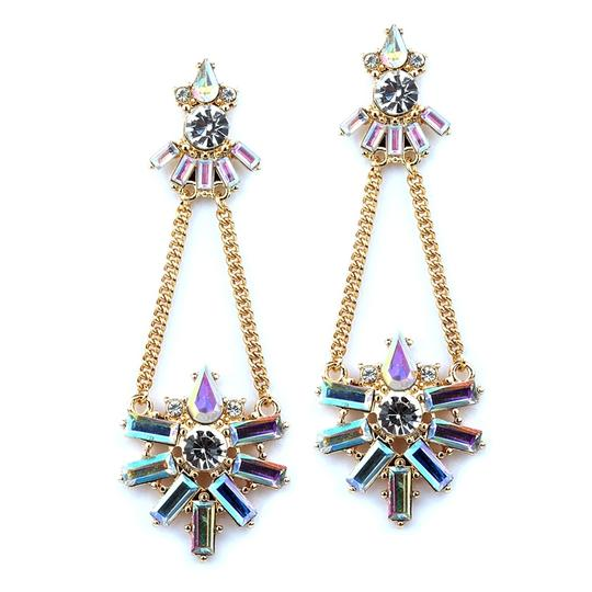 Mariell Gold/Multi Art Deco Chain with Iridescent Baguettes 4338e-ab-g Earrings
