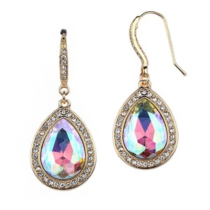 Mariell Top Selling Iridescent Ab Teardrop Earrings With Gold Pave Accents 4247e-ab-g