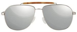 TOMS TOMS Book satin silver mirrored aviator sunglasses