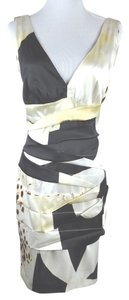 Roberto Cavalli short dress Multi-Color Animalprint Silk Tiered Draped Shift Sleeveless Size 42 on Tradesy