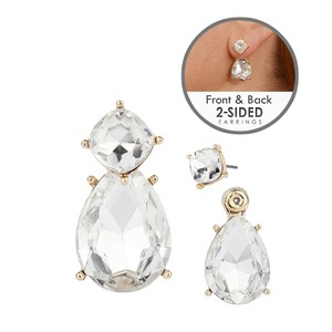Mariell Front-back 2-in-1 Stud Earrings With Optional Clear Pear Jackets 4343e-cr-g
