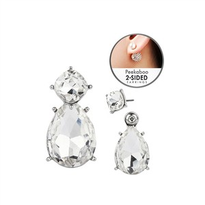 Mariell Silver/Clear Crystal Front-back 2-in1 Stud with Optional Pear Jacekt 4343e-cr-s Earrings