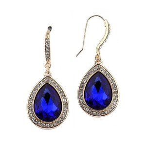 Mariell Top Selling Royal Teardrop Earrings With Gold Pave Accents 4247e-ry-g
