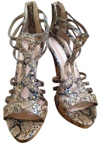ALDO Heels Studded Zipper Print Laser Cut Snakeprint Sandals