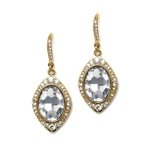 Mariell Gold Framed Oval Drop Or Proms 4337e-cr-g Earrings