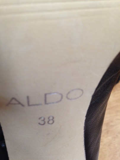 ALDO Leather Ruching Black Boots