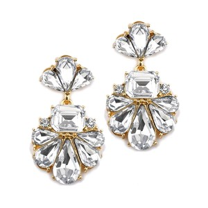 Mariell Dramatic Icy Pear Cluster Statement Earrings For Wedding Or Prom 4339e-g