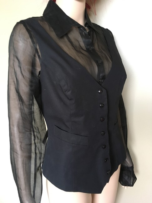 Anne Fontaine Shirt Layered Overlay Sheer Made In Paris Button Down Shirt Black