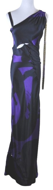 Fendi Runway Black Silk Mesh Draped Bias Cut Maxi Gown Gold Chain Detail Size S Dress