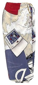 Ralph Lauren Wrap Nautical Yachting Maxi Skirt Multi-Color