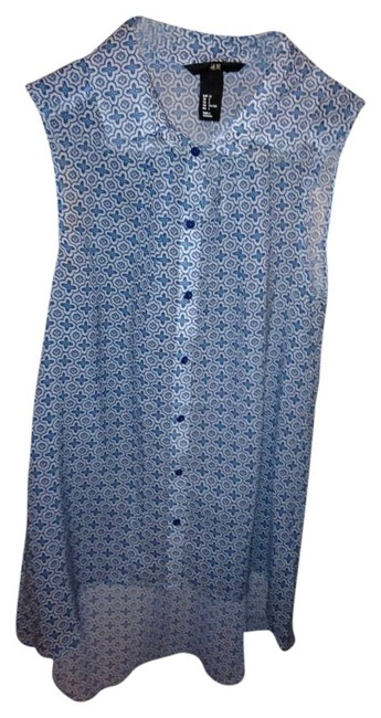 H&M Top Light Blue with Pattern