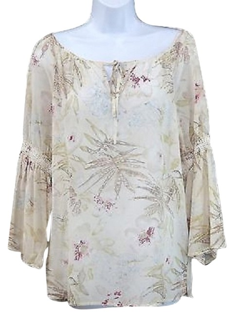 Preload https://img-static.tradesy.com/item/3360145/dana-buchman-printed-peasant-cotton-silk-blend-blouse-size-8-m-0-0-650-650.jpg
