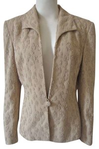 Carmen Marc Valvo Evening Beads Lined Beige Blazer