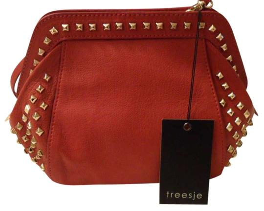 Treesje Spitfire Persimmon Leather Studded Crossbody Crossbody Leather Leather Crossbody Shoulder Bag