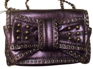Rebecca Minkoff Mini Sweetie Metallic Metallic Leather Studded Blue Purple-ish Gunmetal Hardware Polka Dot Polka Dotted Fabric Shoulder Bag