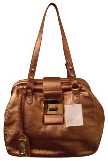 Badgley Mischka Julia Gold Metallic Leather Hinged Frame Handbag Textured Satchel in Copper