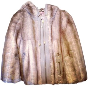 Juicy Couture Fur Faux Fur Hooded Brown Jacket