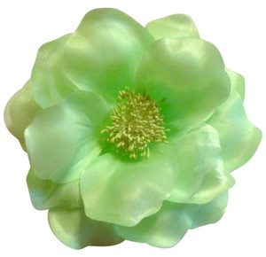 6 inch lime green tulle and satin lapel flower and hair flower