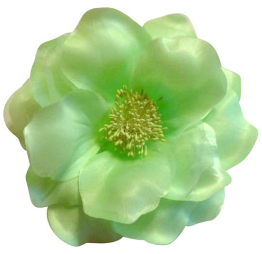 Other 6 inch lime green tulle and satin lapel flower and hair flower