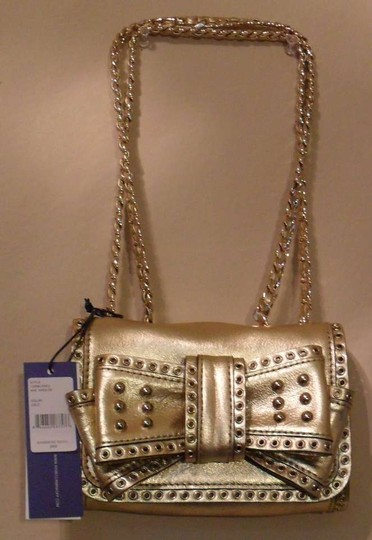 Rebecca Minkoff Mini Sweetie Metallic Leather Studded Bow Shoudler Handbag Gold Clutch