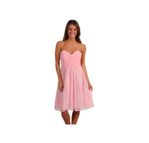 Donna Morgan Blush Silk Chiffon Feminine Bridesmaid/Mob Dress Size 2 (XS)