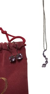 Earring and Necklace Light Purple Stone Silver Plated Jewelry Set