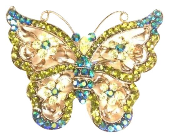 "Other 2.5"" green and turquoise butterfly pin"