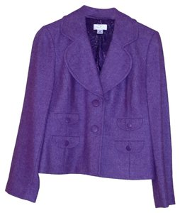 Ann Taylor LOFT Floral Tweed Wool Purple Blazer