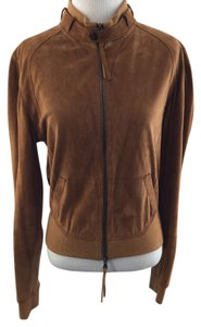 Flora Smith Lazer Cut Heart Suede Brown Rust Jacket