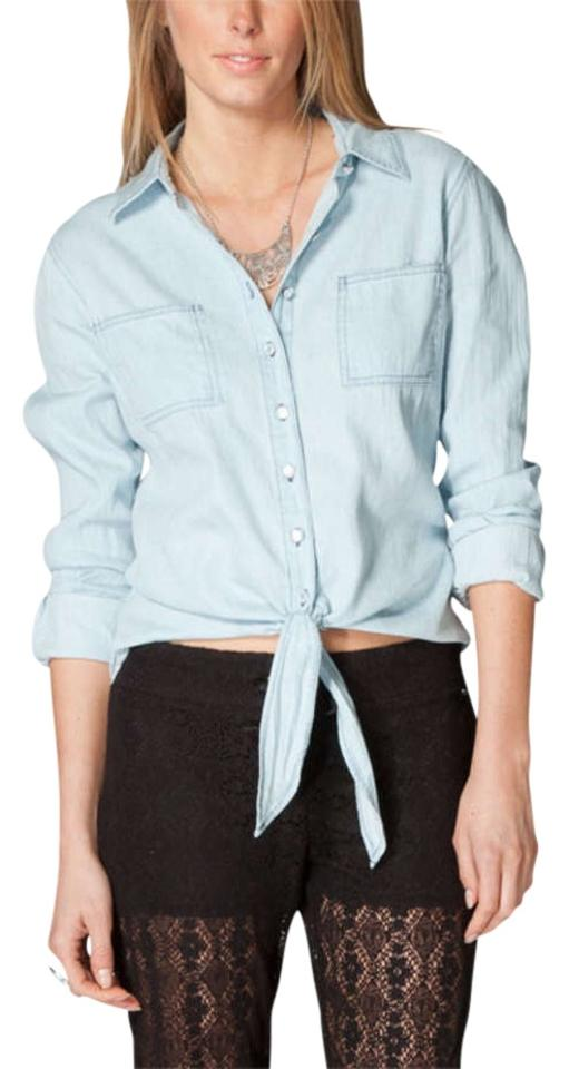 d2a7e6335d134 Mimi Chica Tie Front Tilly s Women Long Sleeve Cotton Button Front Top  Chambray Blue Image ...