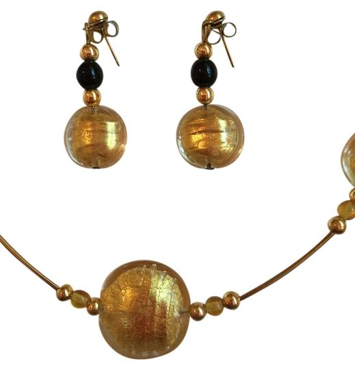 Murano NECKLACE AND EARRINGS SET MADE OF GLASS BEADS