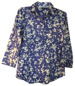 New York & Company Button Down Shirt Blue and White Floral