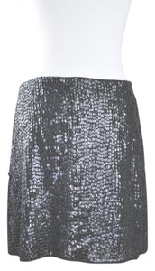Jenni Kayne Leather Sequin Mini Size L Mini Skirt Black