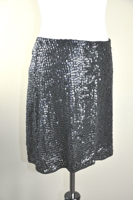 Jenni Kayne Leather Sequin Mini Flirty Size L Mini Skirt Black