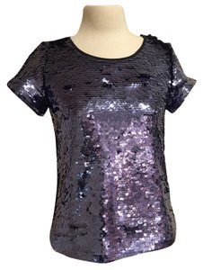 Leifsdottir Sequin Holiday Evening Top Navy Sequin