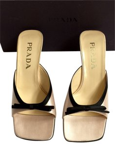 Prada Gold And Black Sandals