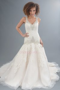 Allure Bridals Ivory Champagne Cafe Lace / Tulle 9127 Formal Wedding Dress Size 8 (M)
