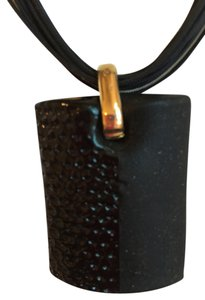Murano PRICE REDUCED: NEVER WORN Murano Two Textured Black Pendent On String Cord HAND CARRIED FROM ITALY