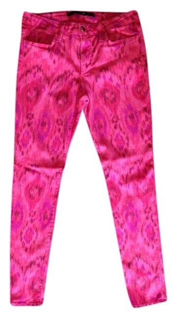 Item - Red Print Light Wash Skinny Jeans Size 29 (6, M)