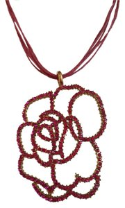 Artistry Have Fun With Striking Pink Flower Pendant On String Cord