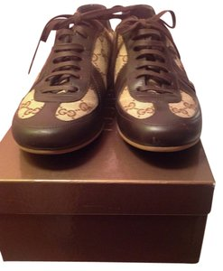 Gucci Beige with brown leather and gold metallic leather trim Athletic