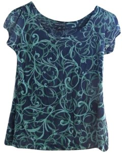 Banana Republic Vines Artistic Gypsy Hippie Top Navy Blue & Green