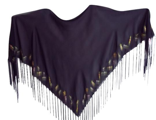 Other Navy triangle fringed shawl w/embroidered flowers