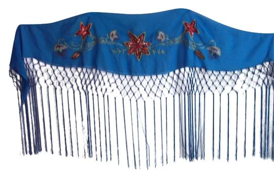 "Other Blue decorated sheer shawl...12"" fringe"
