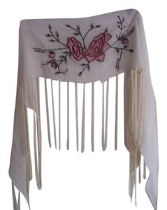Other White sheer fringed shawl w/roses