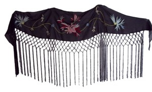 Other Black sheer embroidered shawl w/12